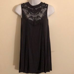 Tops - eyeshadow embroidery laced neck top